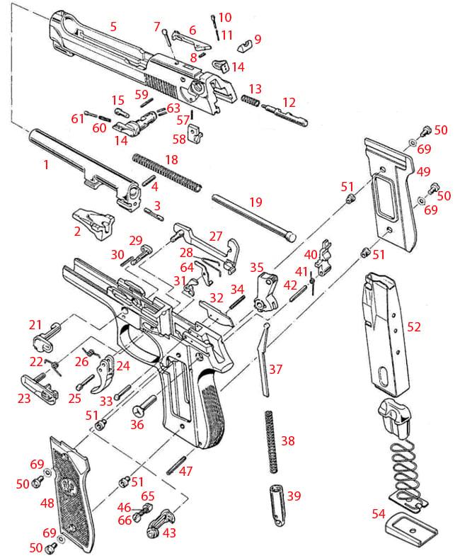Beretta® M9/M9A1 Schematic - Brownells UK